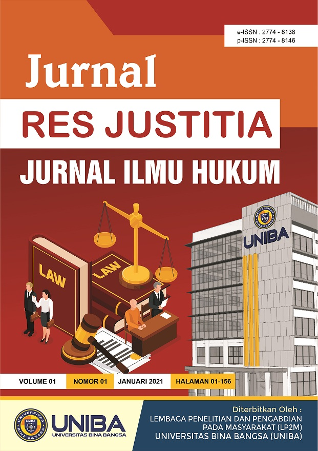 View Vol. 1 No. 1 (2021): Jurnal Res Justitia : Jurnal Ilmu Hukum