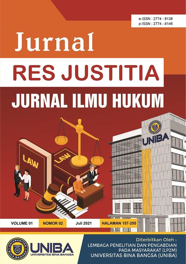 View Vol. 1 No. 2 (2021): Jurnal Res Justitia : Jurnal Ilmu Hukum